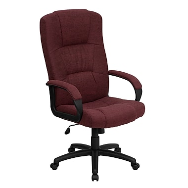 Flash Furniture BT9022BY High-Back Fabric Exec Chair with Fixed Arms, Burgundy