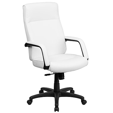 Flash Furniture High-Back Leather Exec Office Chair, Fixed Arm, White