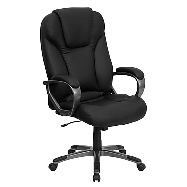 Flash Furniture BT9066BK Leather Soft High-Back Exec Chair with Fixed Arms, Black