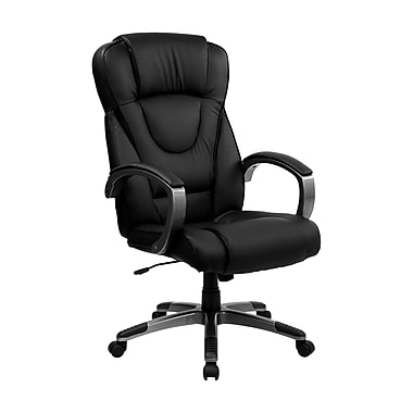 Flash Furniture High-Back Leather Exec Office Chair, Fixed Arm, Black