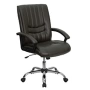 Flash Furniture LeatherSoft Leather Managers Office Chair, Fixed Arms, Brown (BT9076BRN)