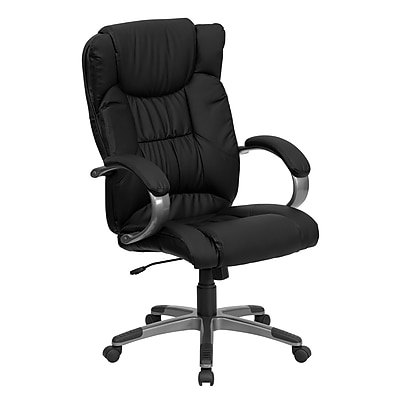 Flash Furniture LeatherSoft Leather Executive Office Chair, Fixed Arms, Black (BT9088BK)