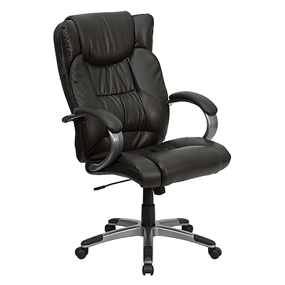 Flash Furniture LeatherSoft Leather Executive Office Chair, Fixed Arms, Brown Ridge (BT9088BRN)