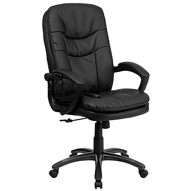 Flash Furniture BT-9585P-GG Leather Soft High-Back Exec Chair with Fixed Arms, Black