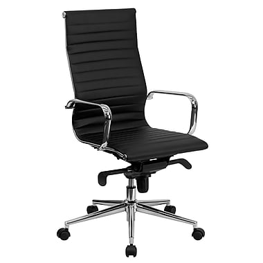 Flash Furniture High-Back Ribbed Upholstered Leather Soft Exec Chair, Fixed Arms, Black