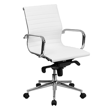 Flash Furniture LeatherSoft Leather Conference Office Chair, Fixed Arms, White (BT9826MWH)