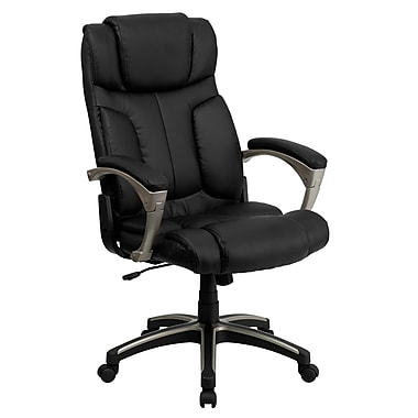 Flash Furniture High-Back Leather Soft Exec Chair, Fixed Arms, Black (BT9875H)