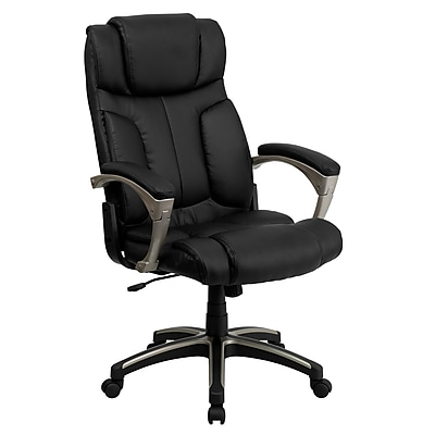 Flash Furniture LeatherSoft Leather Executive Office Chair, Fixed Arms, Black (BT9875H)