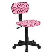 Flash Furniture Fabric Computer and Desk Office Chair, Armless, White/Pink (BTDPK)
