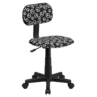 Flash Furniture Peace Sign-Printed Fabric Task Chair, Armless, Black/White