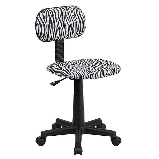 Flash Furniture Fabric Computer and Desk Office Chair, Armless, Black/White (BTZBK)