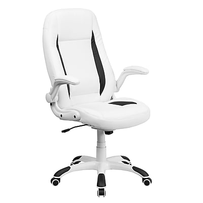 Flash Furniture LeatherSoft Leather Executive Office Chair, Fixed Arms, White (CHCX0176H06WH)