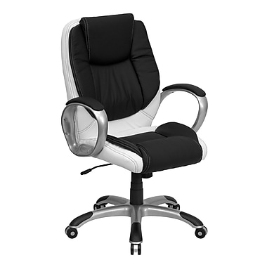 Flash Furniture Mid-Back Leather Exec Office Chair, Fixed Arms, Black and White