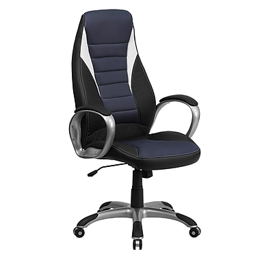 Flash Furniture High-Back Vinyl Exec Chair, Fixed Arm, Black/Blue