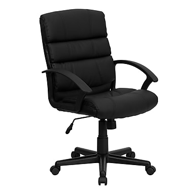 Flash Furniture Mid-Back Leather Soft Task Chair, Fixed Arms, Black (GO1004BKLEA)