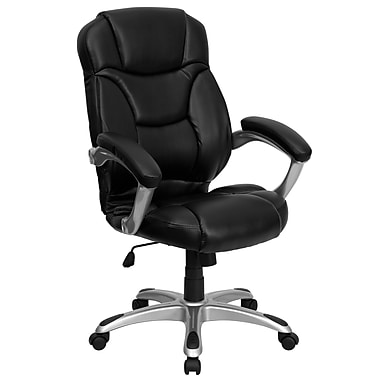 Flash Furniture GO725BKLEA Leather Soft High-Back Exec Chair with Fixed Arms, Black