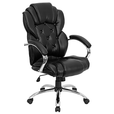 Flash Furniture Leather Exec Office Chair, Fixed Arm, Black