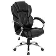 Flash Furniture Leather Executive Office Chair, Fixed Arms, Black (GO908ABK)