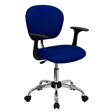 Flash Furniture H2376FBLUEARMS Mesh Mid-Back Task Chair with Fixed Arms, Blue