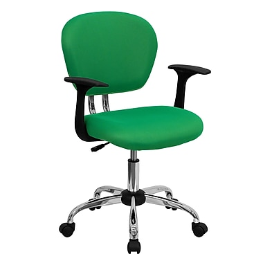 Flash Furniture H-2376-F-BRGRN-ARMS-GG Mesh Mid-Back Task Chair with Fixed Arms, Bright Green