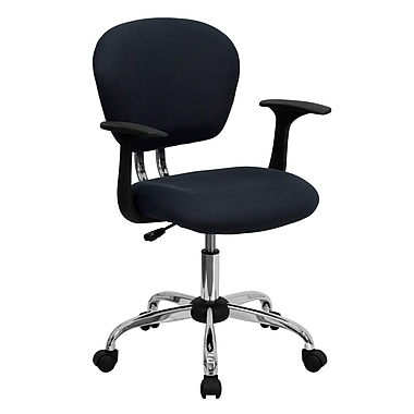 Flash Furniture H2376FGYARMS Mesh Mid-Back Task Chair with Fixed Arms, Gray