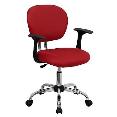 Flash Furniture – Fauteuil de travail H2376FREDARMS en mailles à dossier moyen, accoudoirs ajustables, rouge