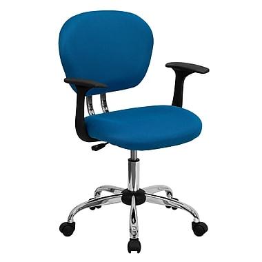 Flash Furniture – Fauteuil de travail H2376FTURARMS en mailles à dossier moyen, accoudoirs ajustables, turquoise