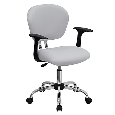 Flash Furniture - Fauteuil fonctionnel H2376FWHTARMS, dossier mi-dos, mailles, accoudoirs fixes, blanc