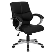 Flash Furniture Leather Managers Office Chair, Fixed Arms, Black (H9637L2MID)