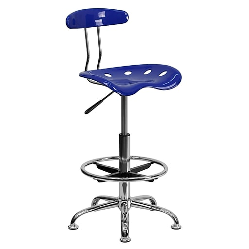 "Flash Furniture 30.5"" Vibrant Drafting Stool with Tractor Seat, Nautical Blue (LF215NTCLBLUE)"