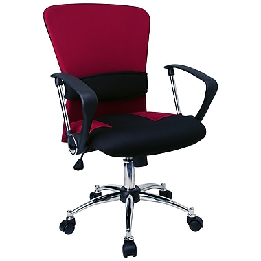 Flash Furniture Burgundy/Black Mid-Back Mesh Task Chair, Fixed Arms