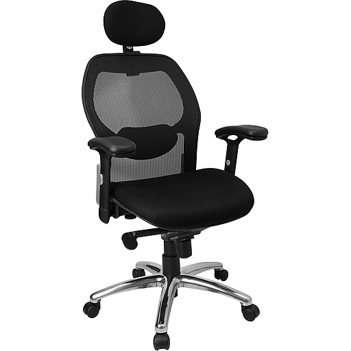 Flash Furniture High Back Super Mesh Office Chair With Fabric Seat and Knee Tilt Control, Black
