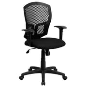 Flash Furniture Fabric Executive Office Chair, Adjustable Arms, Black (WL3958SYGBKA)