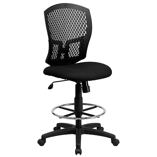 Flash Furniture Mid-Back Designer Back Drafting Stool with Padded Fabric Seat, Black