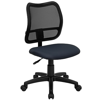 Flash Furniture WL-A277-NVY-GG Fabric Mid-Back Armless Task Chair, Navy Blue