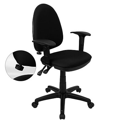 Flash Furniture Mid-Back Fabric Multi-Functional Task Chair with Arms and Adjustable Lumbar Support, Black