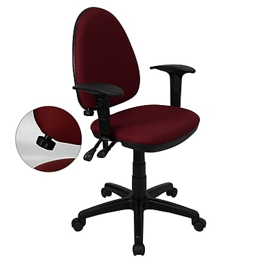 Flash Furniture Mid-Back Fabric Multi-Functional Task Chair with Arms and Adjustable Lumbar Support, Burgundy