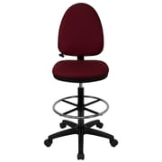 Flash Furniture Mid-Back Fabric Multi-Functional Drafting Stool with Adjustable Lumbar Support, Burgundy