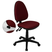 Flash Furniture Mid-Back Fabric Multi-Functional Task Chair with Adjustable Lumbar Support, Burgundy