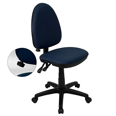 Flash Furniture Mid-Back Fabric Multi-Functional Task Chair with Adjustable Lumbar Support, Navy Blue