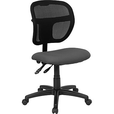 Flash Furniture WL-A7671SYG-GY-GG Fabric Mid-Back Armless Task Chair, Black/Gray