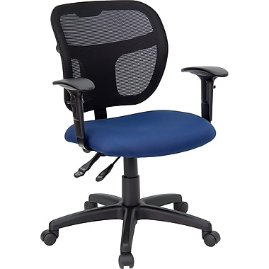 Flash Furniture WLA7671SYGNVYA Fabric Mid-Back Task Chair with Adjustable Arms, Black/Navy Blue