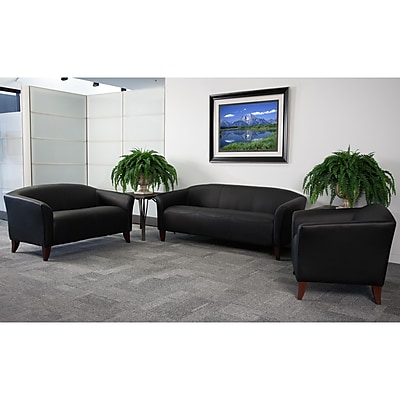 Flash Furniture Hercules Imperial Leather Reception Sets, Black (111SETBK)