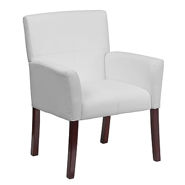Flash Furniture Mid-Back Leather with Mahogany Legs Executive Side/Reception Chair, Fixed Arms, White