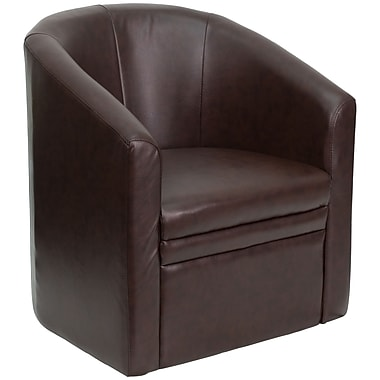 Flash Furniture Leather Barrel-Shaped Guest Chair, Brown