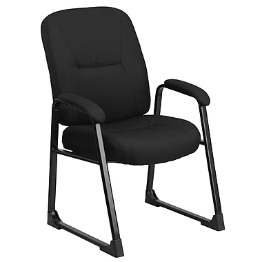 Flash Furniture Hercules Series Big and Tall 400 lb. Capacity Fabric Exec Side Chair with Sled Base, Black