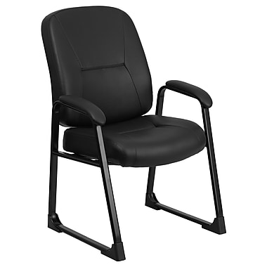 Flash Furniture Hercules Series Big and Tall 400 lb. Capacity Leather Exec Side Chair with Sled Base, Black