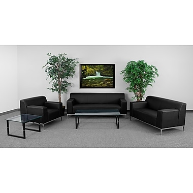 Flash Furniture Hercules Definity Stainless Steel Reception Set, Black (ZBDEF8009SETBK)