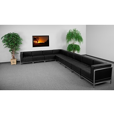 Flash Furniture HERCULES Imagination Series Sectional Configuration Set 3 with 6 Middle Chairs, Black 257558