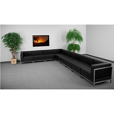 Flash Furniture HERCULES Imagination Series Sectional Configuration Set 3 with 6 Middle Chairs, Black